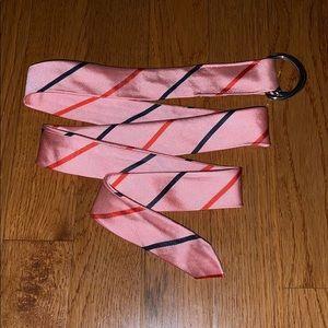 NWOT JCrew silk tie striped D-ring belt.
